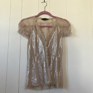 BCBGmaxazaria• Sequin and Lace Sheer Button Blouse